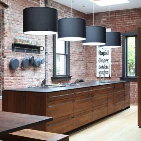 кухня с кирпичной стеной виды фото