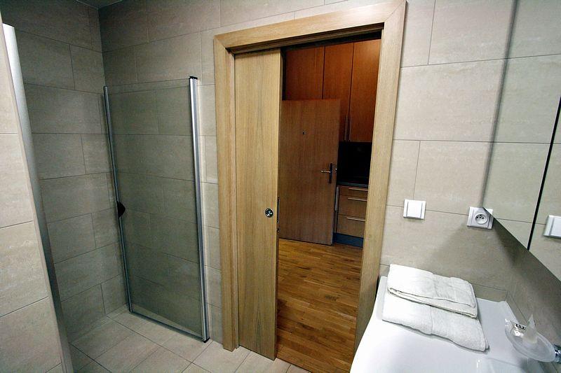 Сдвижная дверь в ванной с душевой кабинкой