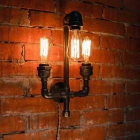 Светильник из труб в стиле лофта