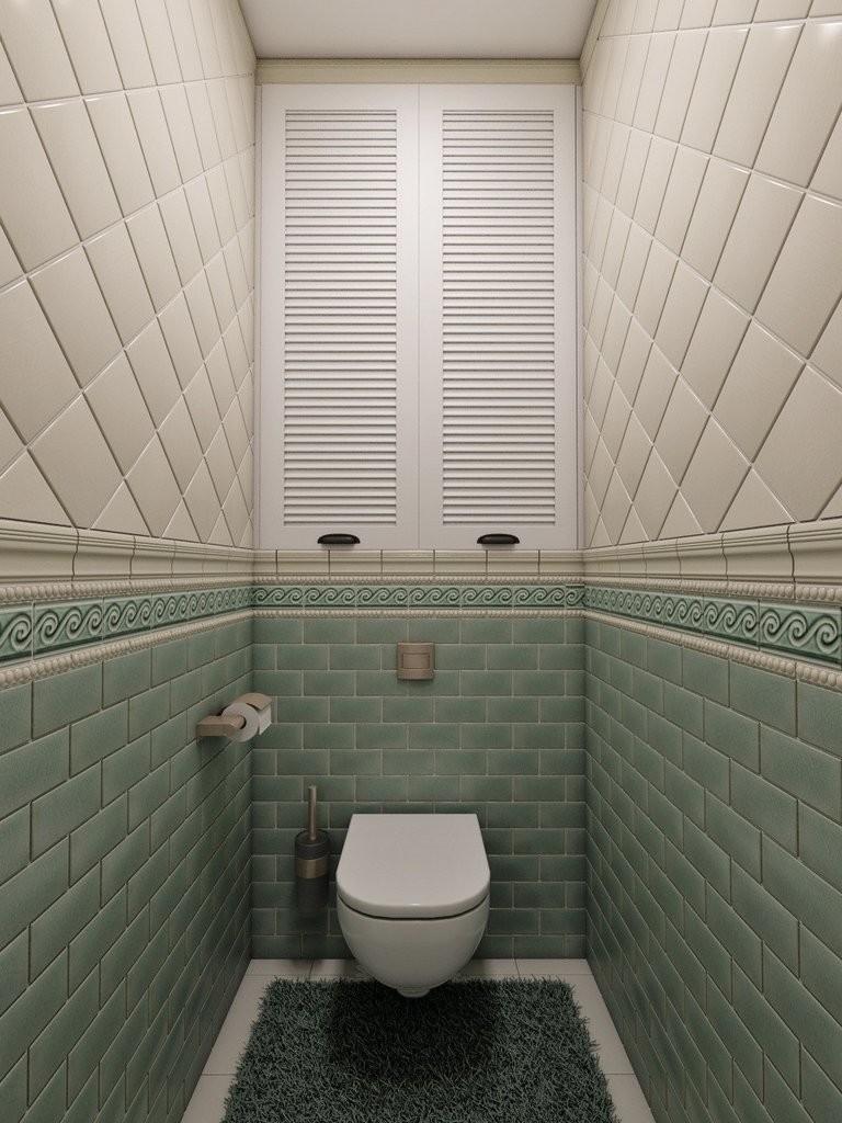 Кафельная плитка в маленьком туалете