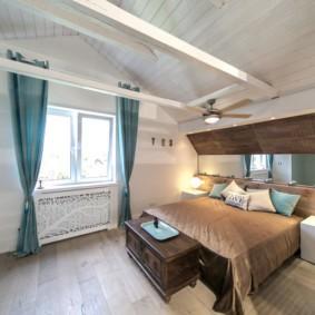 мансардная спальня фото оформления
