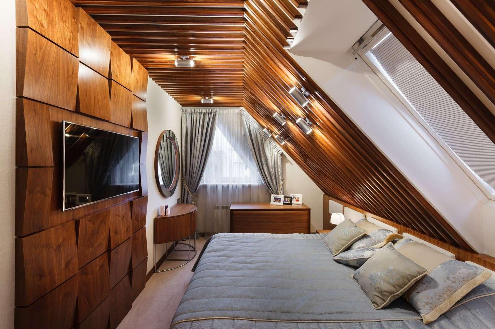 спальня на мансарде фото варианты