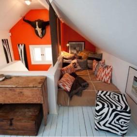 мансардная спальня фото видов