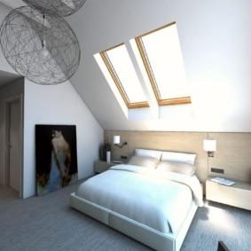 мансардная спальня идеи декор