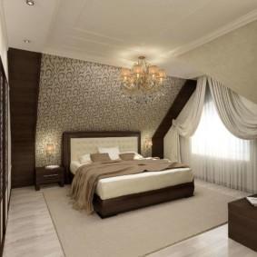 мансардная спальня варианты идеи
