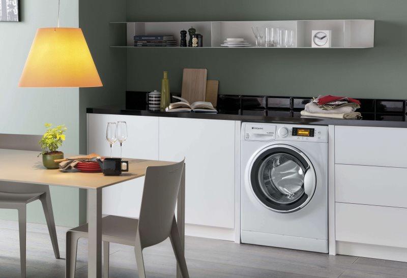 Белая стиральная машинка под столешницей кухонного гарнитура