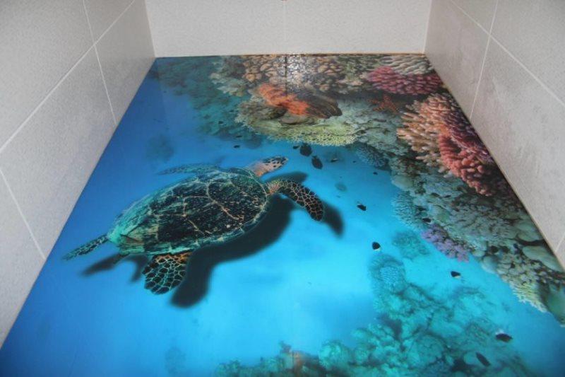 Наливной пол с реалистичным изображением морской черепахи