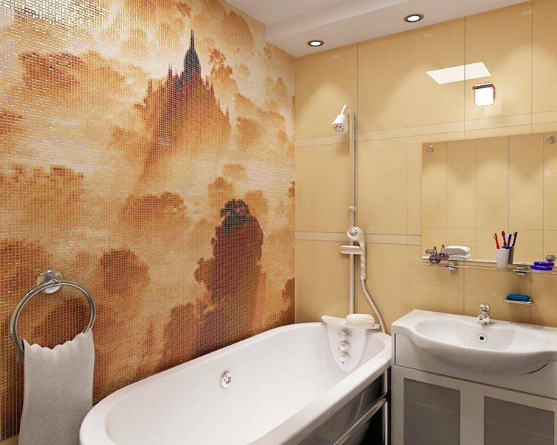 Выделение мозаикой акцентной стены в ванной комнате