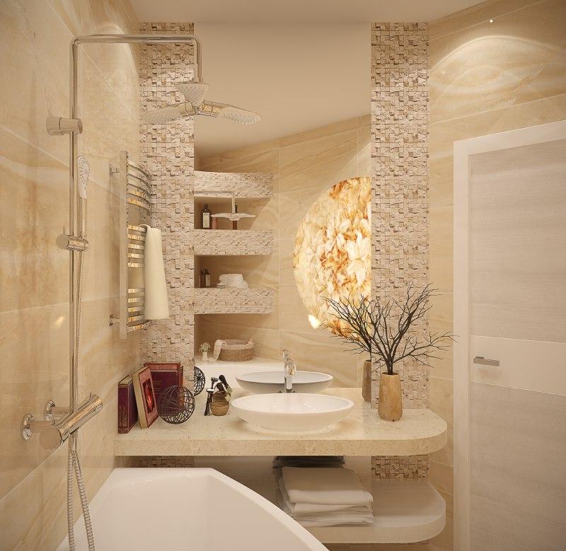 Отделка ниш в ванной каменной мозаикой