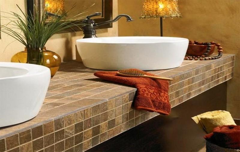Облицовка керамической мозаикой столешницы под раковину
