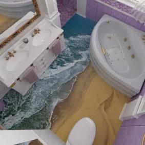 Дизайн санузла с ванной треугольной формы