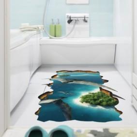 Фотопечать в оформлении интерьера ванной комнаты