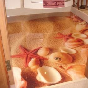 Морские раковины и звезды на фотопечати в ванной комнате