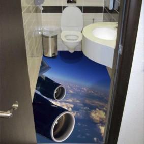Интерьер туалета с наливным полом