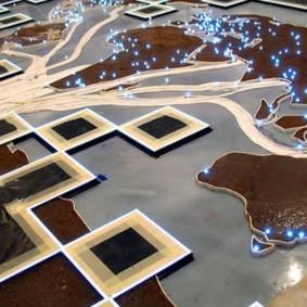 Наливной пол с фотопечатью карты мира