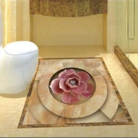 Керамическая мозаика на полу в туалете