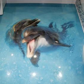 Два дельфина на фотопечати в ванной комнате