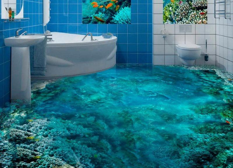Морское дно на полу в ванной комнате