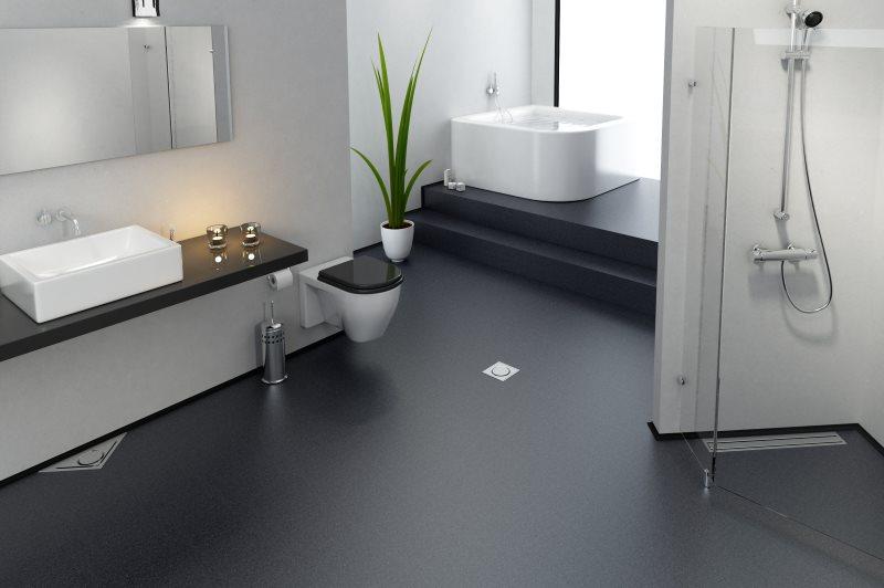 Серый наливной пол в ванной с белыми стенами
