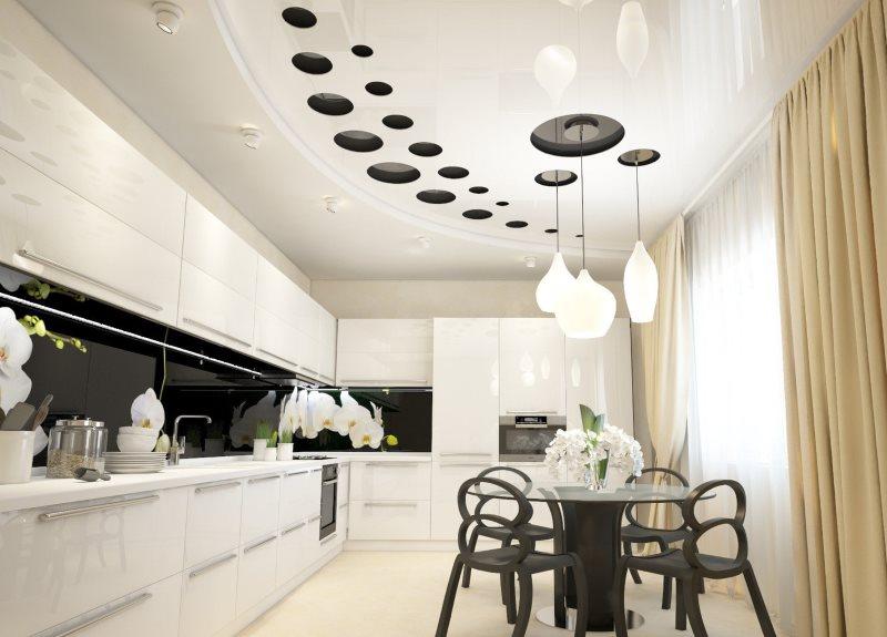 Двухъярусный потолок на кухне с угловым гарнитуром