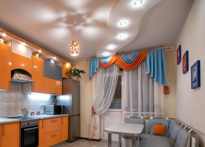 Волнообразный двухуровневый потолок со встроенными светильниками