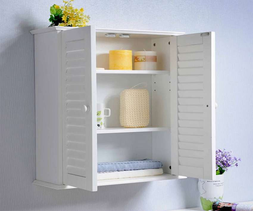 навесной шкаф в ванную идеи декор