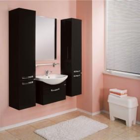 навесной шкаф в ванную интерьер фото