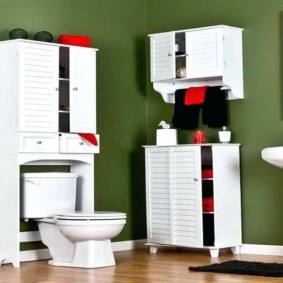 навесной шкаф в ванную оформление