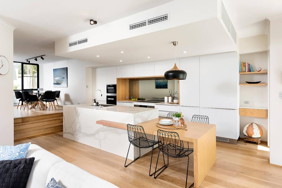 обеденная зона на кухне минимализм