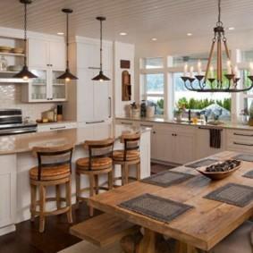 обеденная зона на кухне зонирование