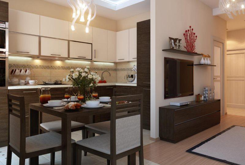 Обеденная зона в кухне-гостиной хрущевки