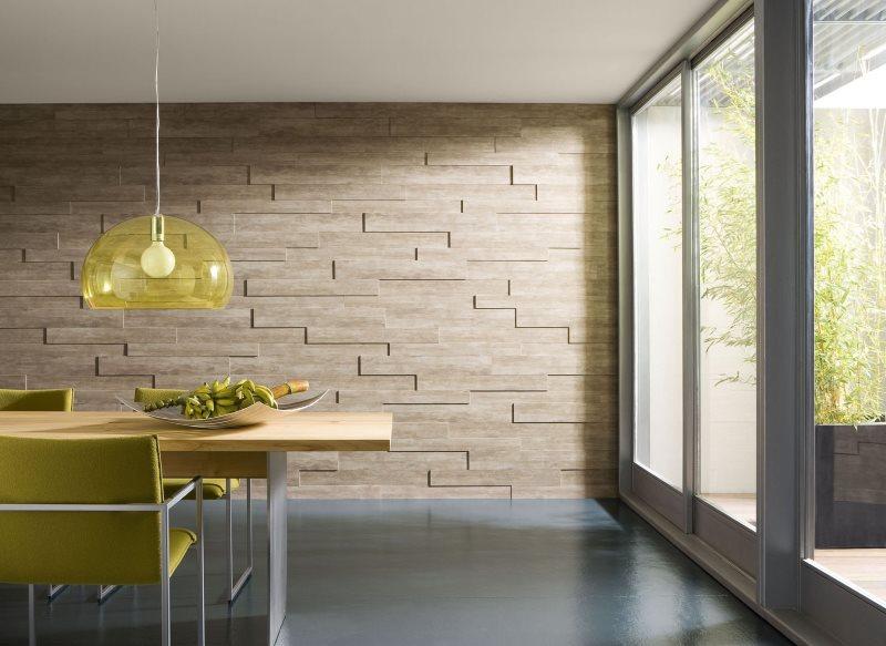 Объемные панели из дерева на стене кухни с панорамным окном