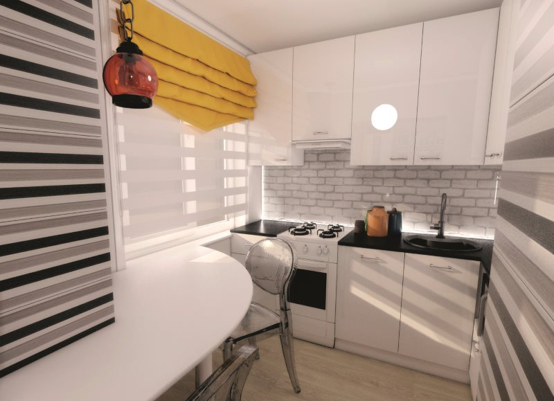 Яркая штора в кухне с полосатыми обоями