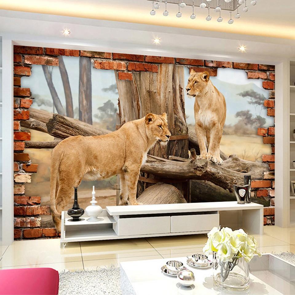 обои в гостиную с животными