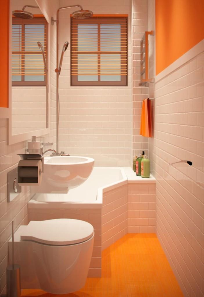 Узкая ванная комната с подвесным унитазом