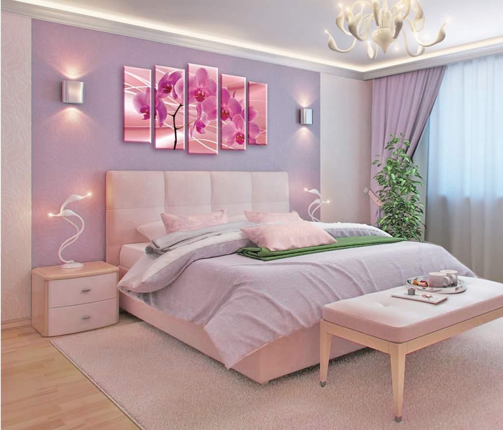 интерьер спальной комнаты по фен-шуй с орхидеями