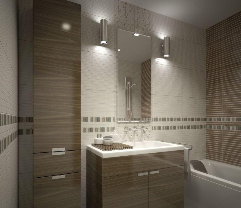 Настенные бра по обеим сторонам зеркала в ванной комнате
