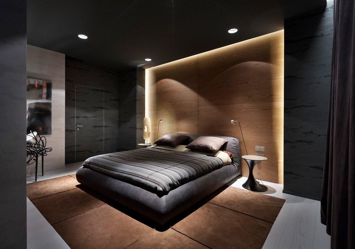 спальня в стиле хай тек освещение