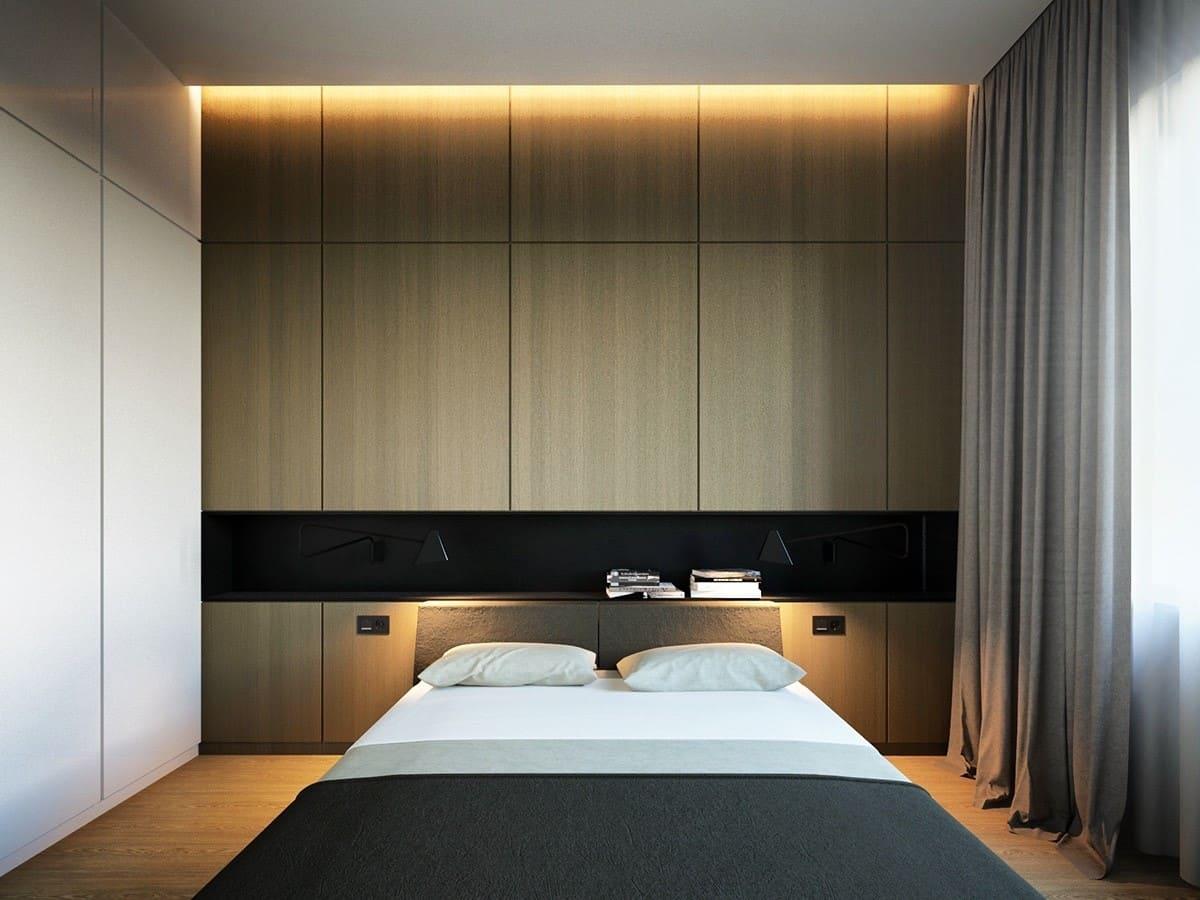спальня в стиле минимализм освещение
