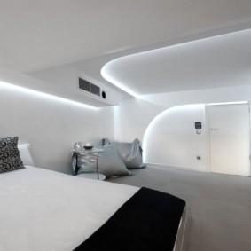 спальня в стиле хай тек отделка