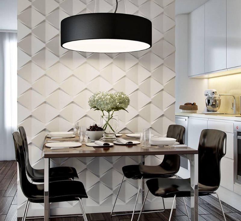 Объемные панели в кухне с черными стульями