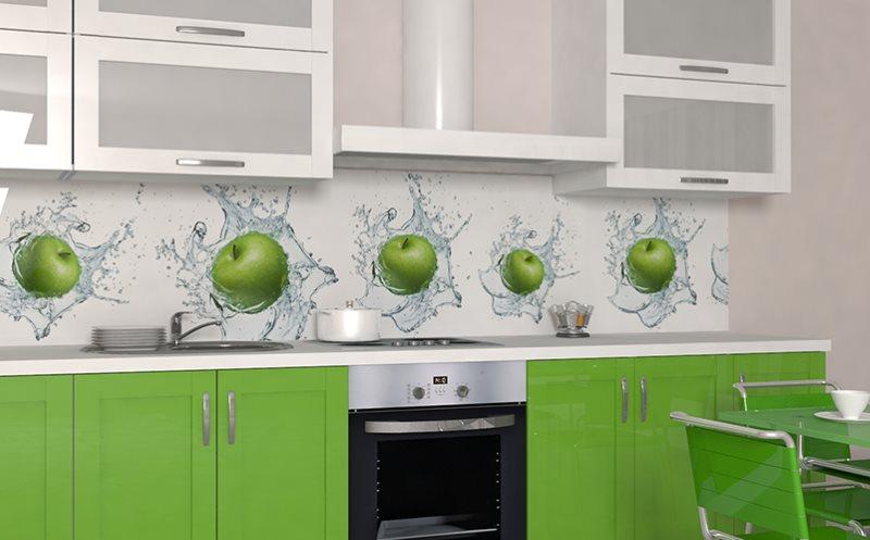 Зеленые яблоки на фартуке из МДФ-панелей с фотопечатью