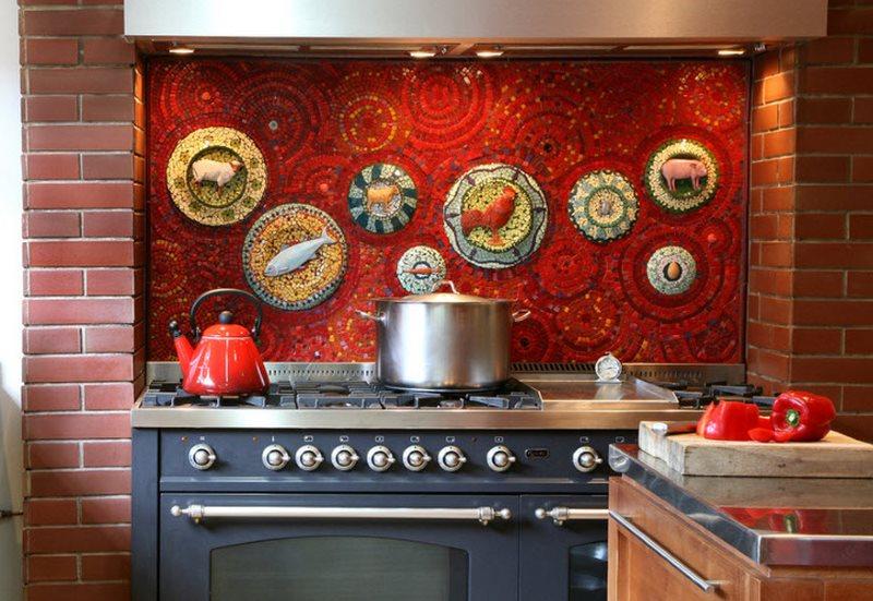 Мозаичное панно над газовой плитой