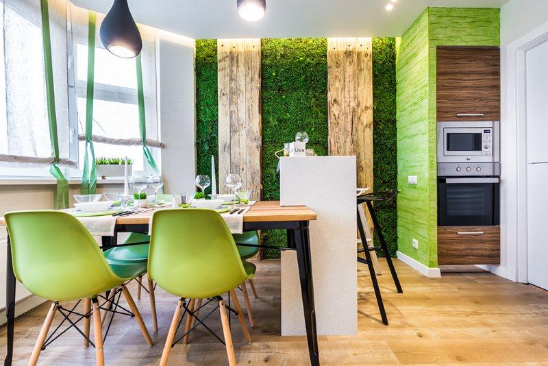 Природное панно на кухне в экологическом стиле