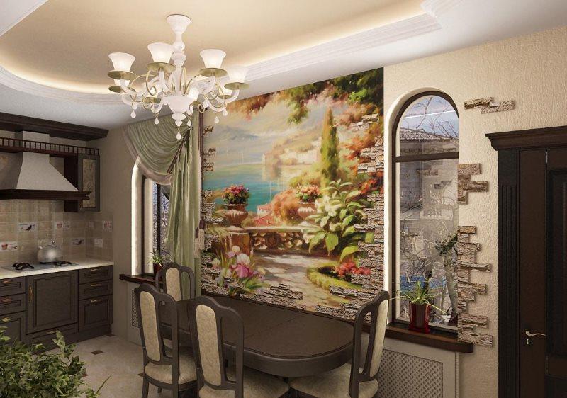 Обеденная зона кухни в классическом стиле