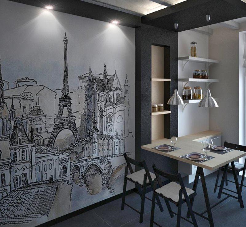 Дизайн кухни в стиле лофт с картиной на стене