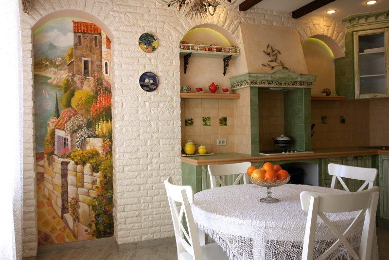 Кирпичная кладка в интерьере деревенской кухни