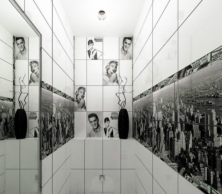 Фотопечать на стене небольшого туалета