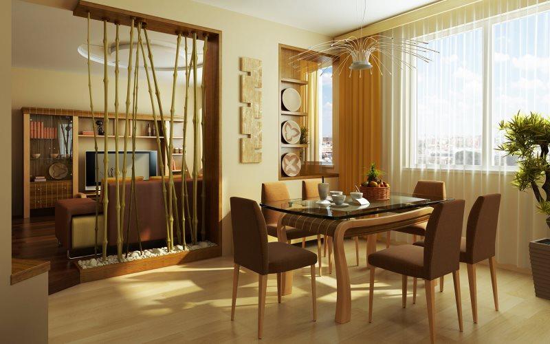 Бамбуковая перегородка в кухне-гостиной