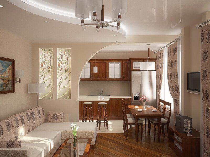 Дизайн кухни-гостиной с легкой перегородкой